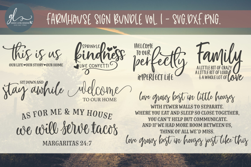 Farmhouse Sign Bundle 8 Designs Svg Dxf Png By Grace Lynn