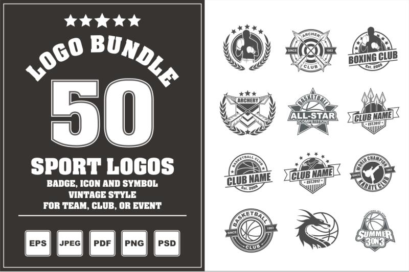 50 Sport Logos Logo Bundle By Azkaryzki Thehungryjpeg Com