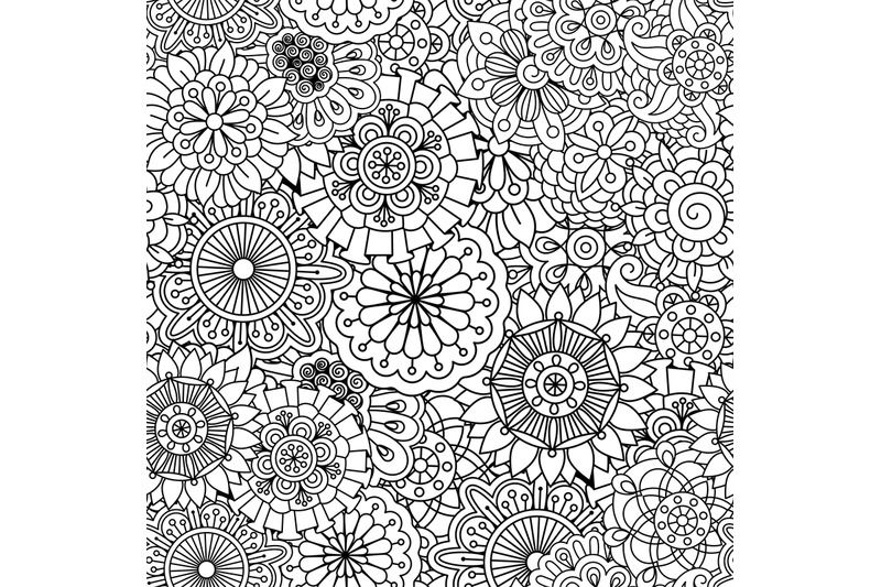 Seamless Round Floral Pattern With Pinwheel Shapes By