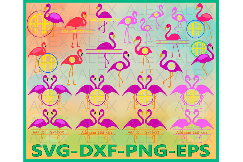 Flamingo Monogram Clipart By Alexsvgstudio Thehungryjpeg Com