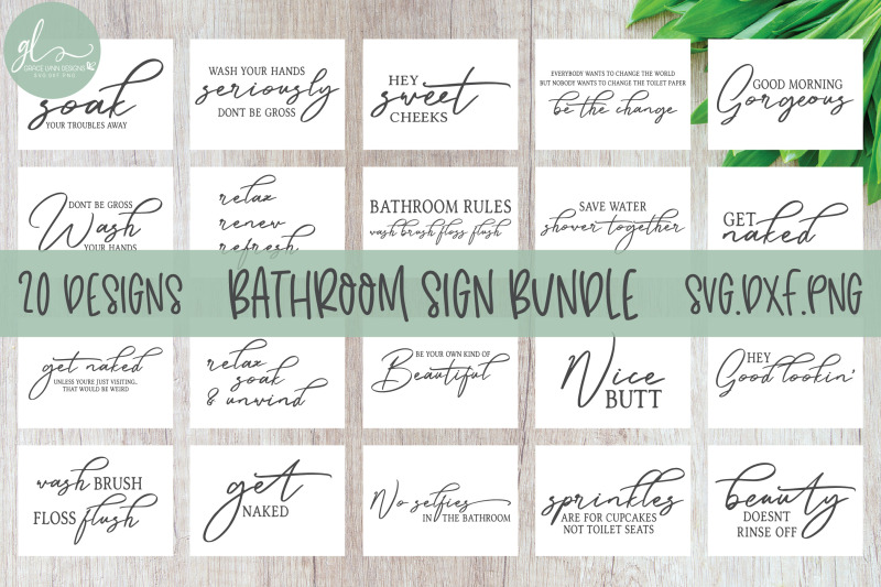 Bathroom Sign Bundle 20 Designs Svg Cut Files By Grace Lynn