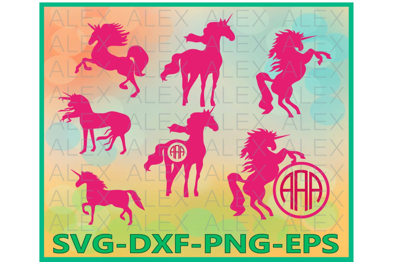 Unicorn Unicorn Monogram Frame Files By Alexsvgstudio