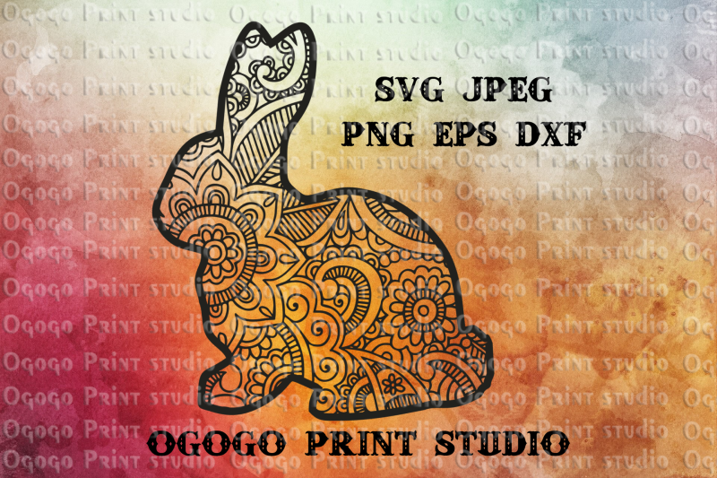bunny svg  easter svg  rabbit svg  mandala svg  zentangle