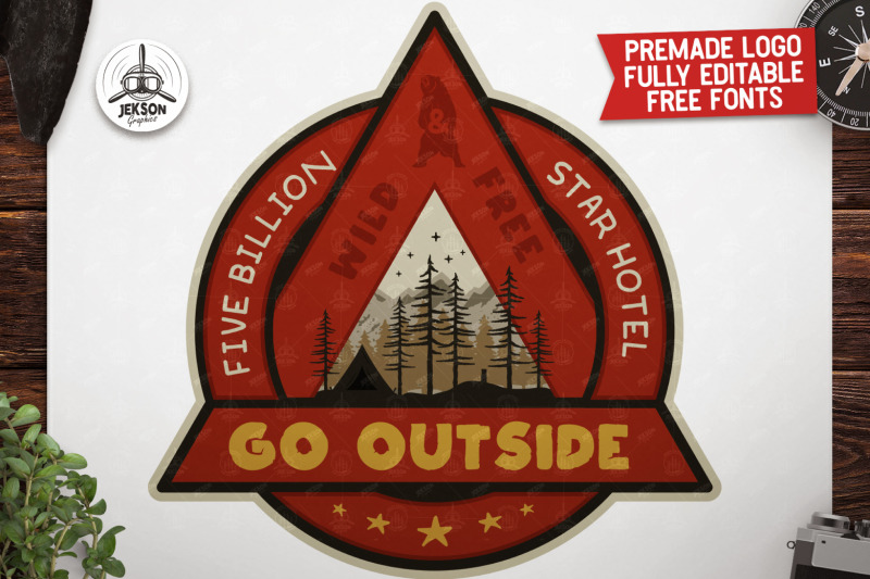 Outdoor Adventure Badge Vintage Camp Logo Patch Svg Wild Free