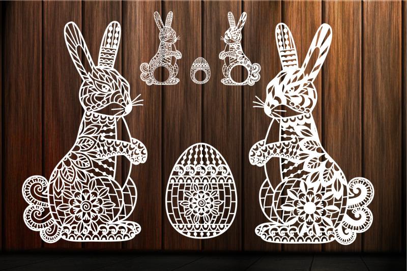 Easter Bunny Svg Zentangle Mandala Swirl Scroll Easter Bunny