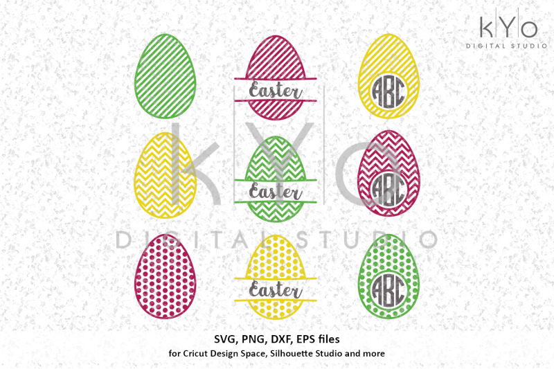 Patterned Easter Egg Monogram Designs Svg Files By Kyo Digital