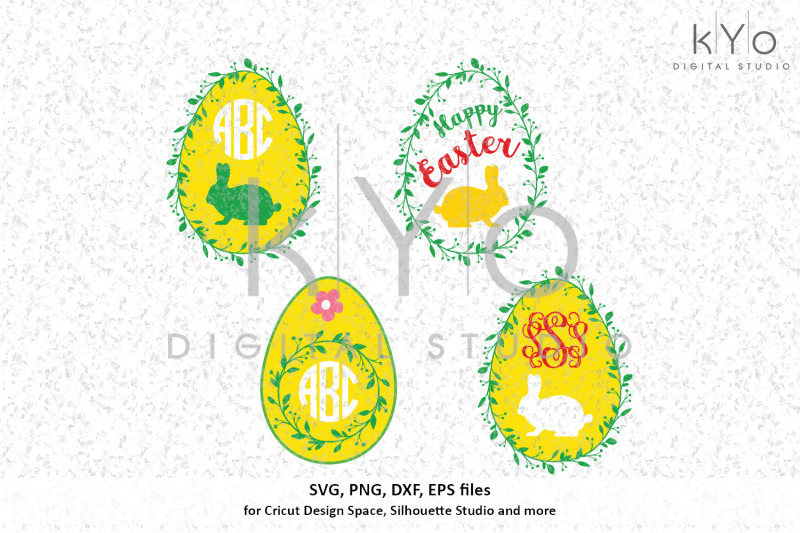 Happy Easter Wreath Egg Bunny Svg Png Dxf Files By Kyo Digital