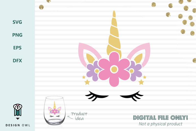 Floral Unicorn Face Svg File By Design Owl Thehungryjpeg Com
