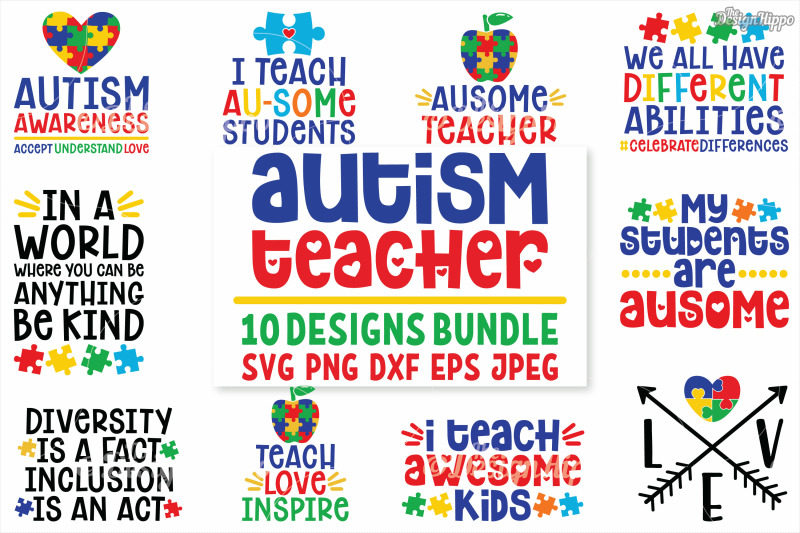 569e62caccb Autism Teacher, SVG Bundle of 10 Designs, DXF PNG Cut Files By The Design  Hippo | TheHungryJPEG.com