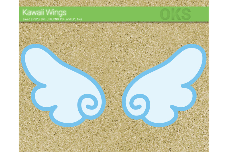Kawaii Wings Svg Svg Files Vector Clipart Cricut Download By