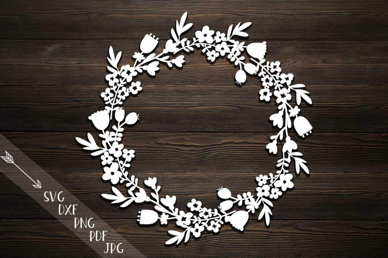 Rustic Monogram Flowers Wreath Svg Dxf Paper Laser Cut Template By