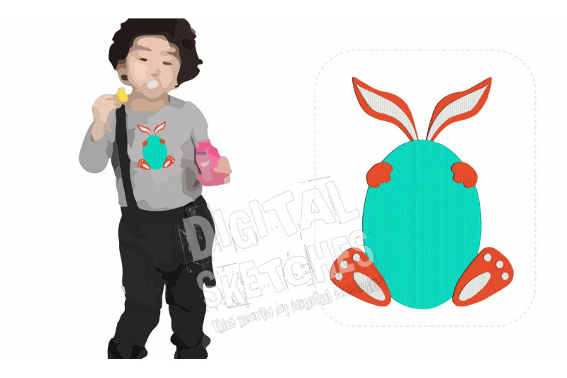 Easter Bunny Egg Machine Embroidery Design 4 Sizes By Digital