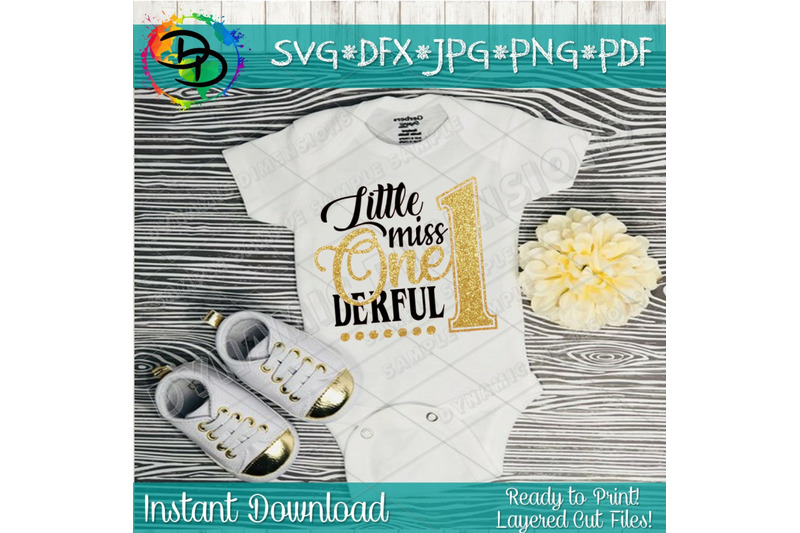 Little Miss One Derful Svg Cutting File First Birthday Svg 1st