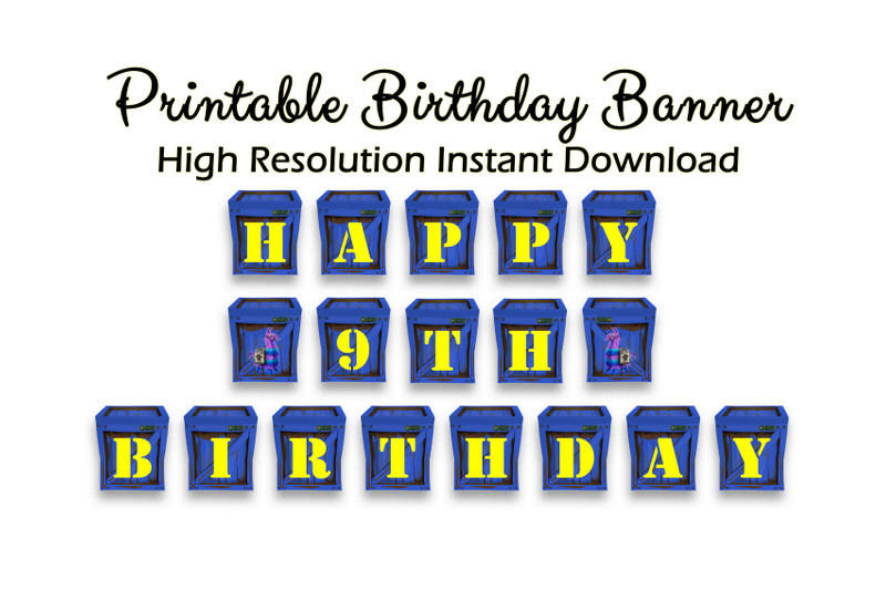Printable Happy Birthday Banner Gamer Video Game Blue Crate