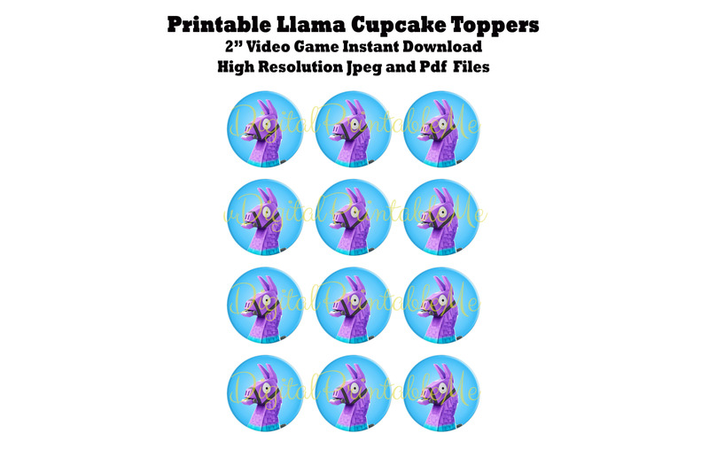 picture relating to Printable Coins Pdf referred to as Printable Cupcake Toppers, Llama, Video clip Recreation Bash, Cash