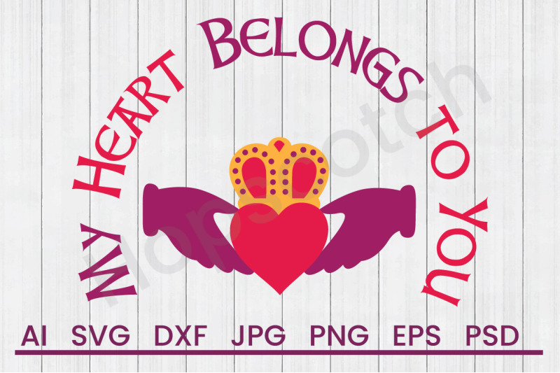 Claddagh Heart Crown Svg File Dxf File By Hopscotch Designs