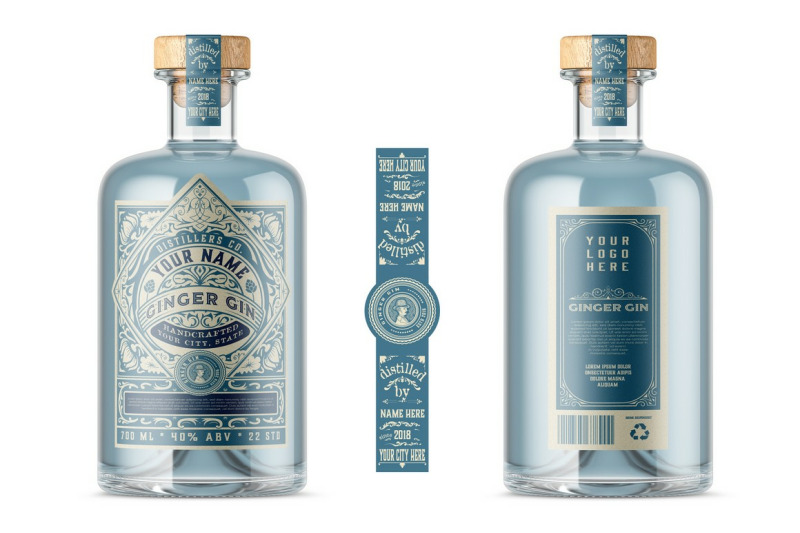 Download Frosted Glass Gin Bottle Mockup Yellowimages