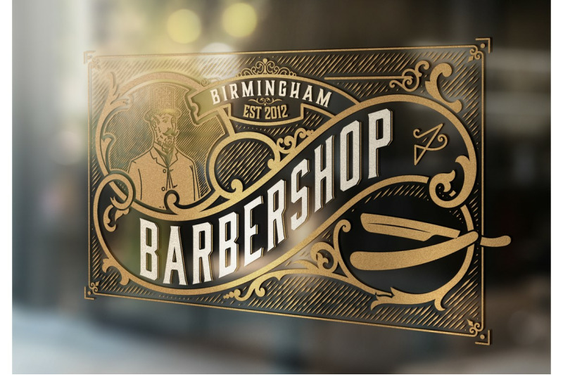 Gold Vintage Barbershop Logo By Onevectorstock Thehungryjpeg Com
