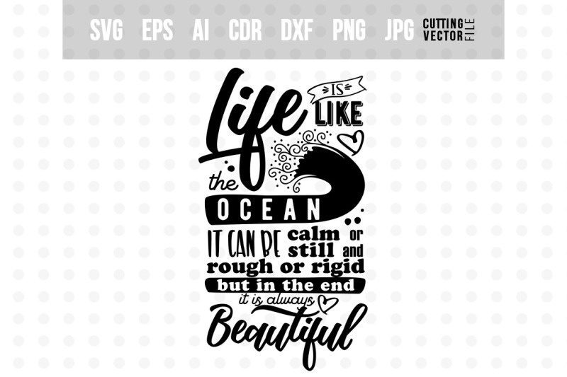 Life Is Like The Ocean Inspirational Quote By Craftartshop