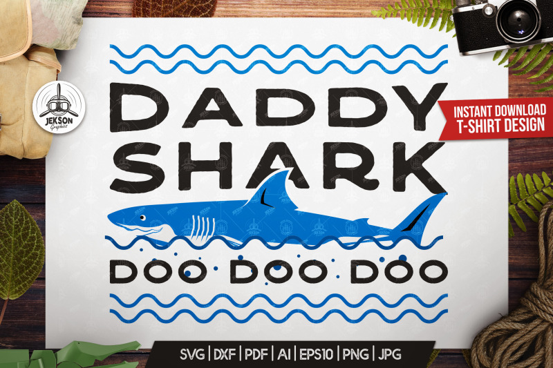 Retro Daddy Shark Print Fathers Day T Shirt Family Svg By