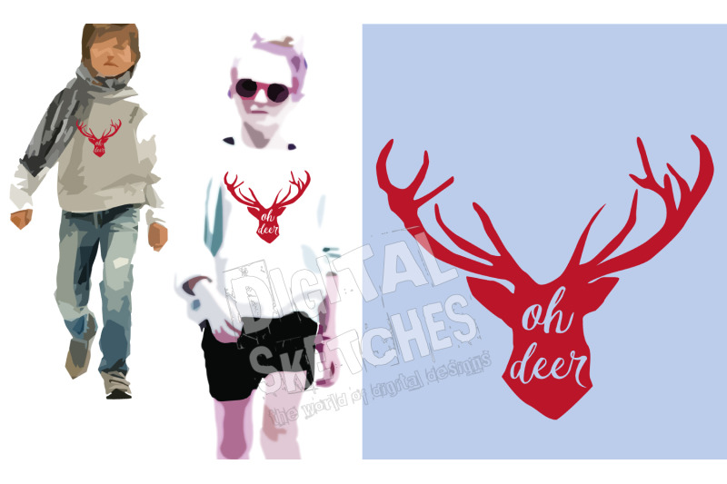 Deer Head Antlers Saying Oh Deer Cut File Vector Silhouette Svg