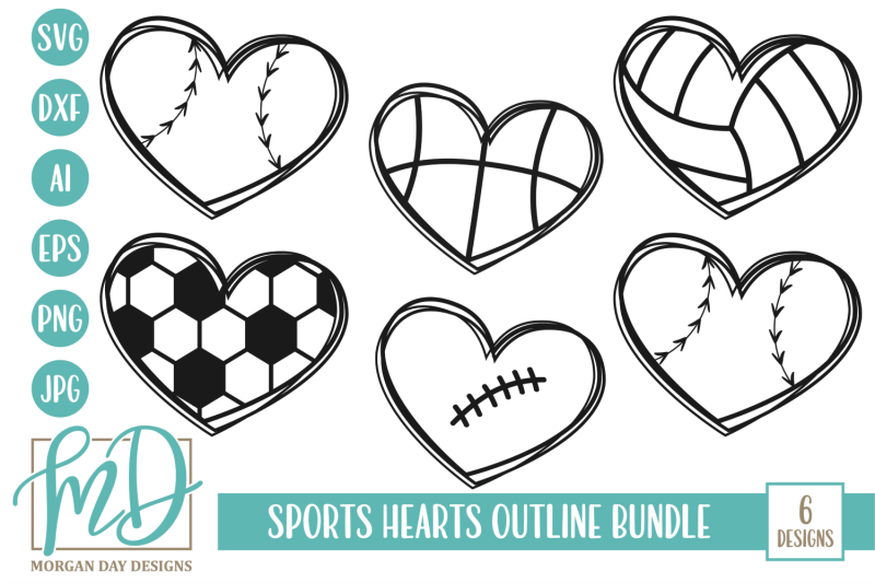 Sports Hearts Outline Svg Bundle By Morgan Day Designs
