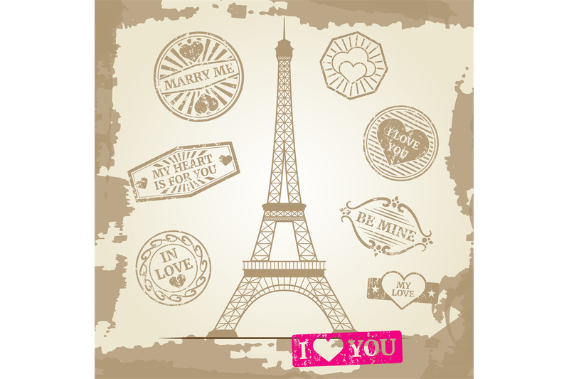 Hipster Or Vintage Postcard Background Eiffel Tower With Love