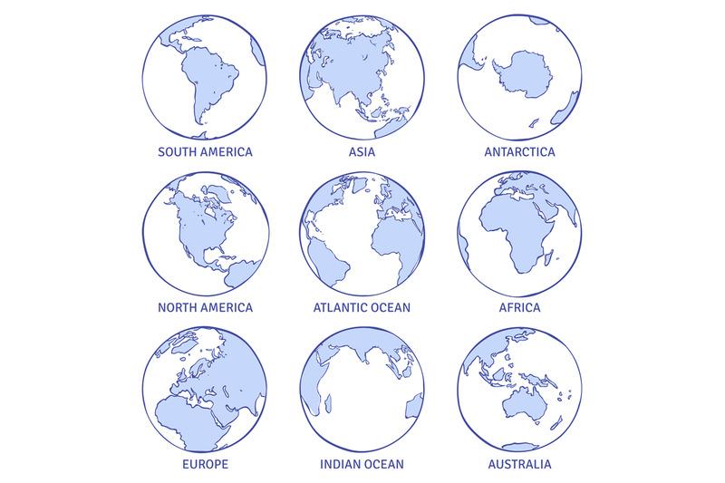 Sketch Earth Map World Hand Drawn Globe Earth Circle Concept
