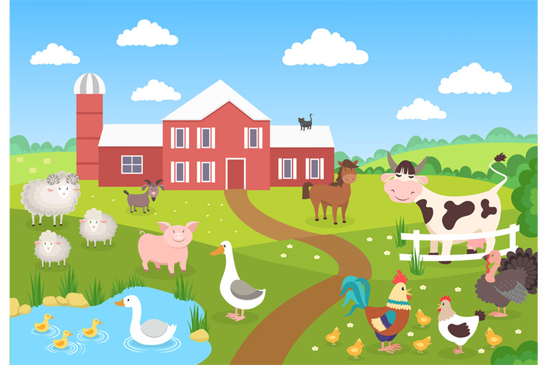 Farm Animals With Landscape Horse Pig Duck Chickens Sheep