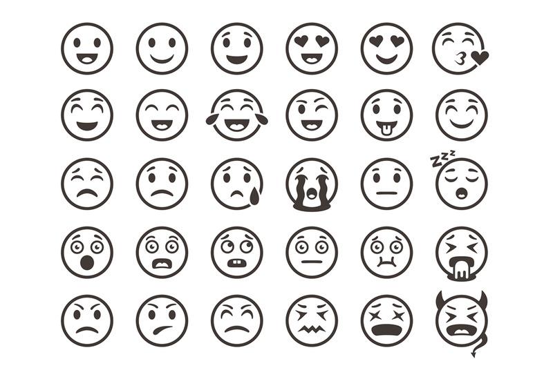 Emoticons Outline Emoji Faces Emoticon Funny Smile Vector Line