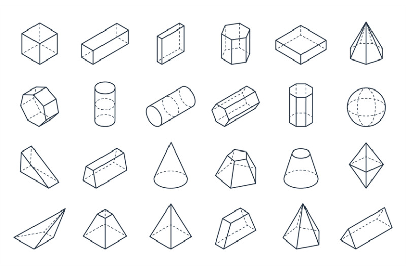 3D geometric shapes. Isometric linear forms, cube cone ...