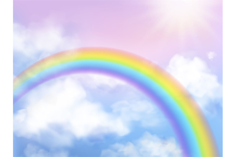 Rainbow Sky Fantasy Heaven Landscape Rainbow In White Clouds