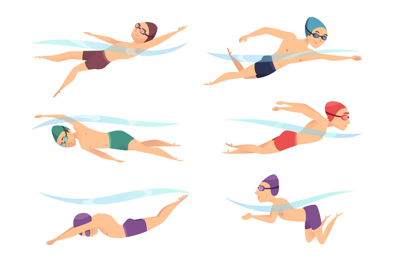Swimmers At Various Poses Cartoon Sport Characters In Poll Action Pos By Onyx Thehungryjpeg Com