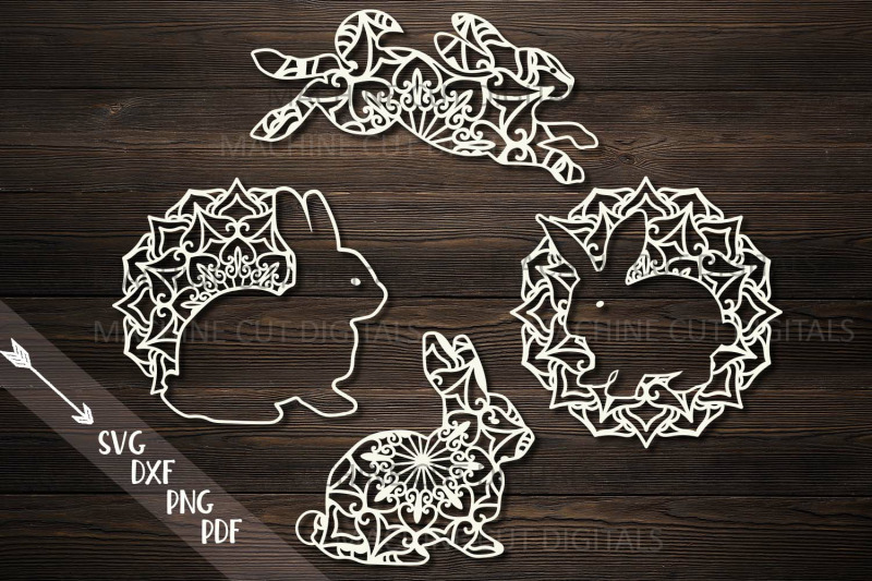 Mandala Easter Bunnies Cut Out Set Svg Pdf Dxf Cutting Files By