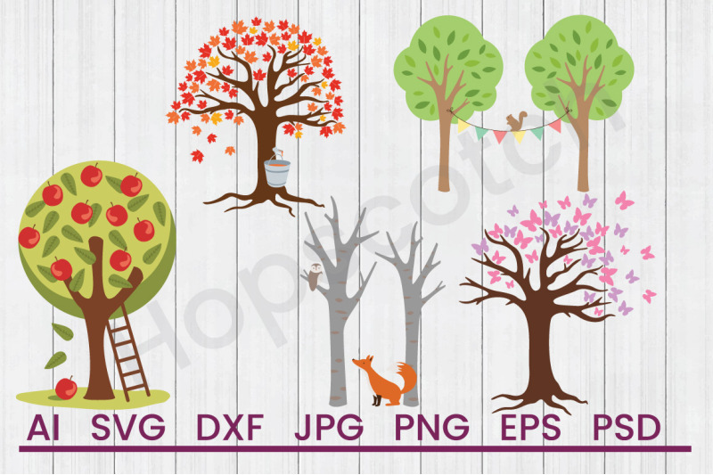Trees Bundle Svg Files Dxf Files Cuttable Files By Hopscotch
