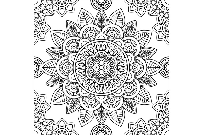 Ethnic Seamless Pattern Coloring Pages Template By