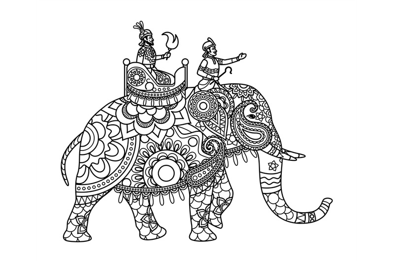 Indian Maharajah On Elephant Coloring Pages By Smartstartstocker