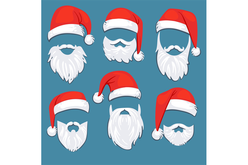 Christmas Santa Claus Red Hats With White Moustache And Beards