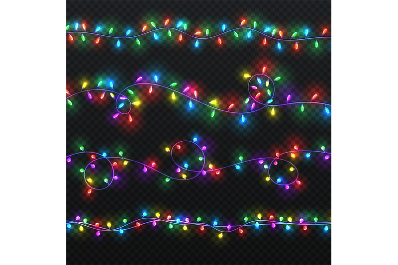 Christmas Light Garlands Xmas Vector Decoration With Colorful