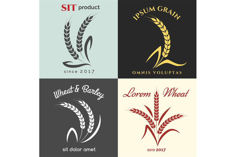 Ears Of Wheat Logo Set By Vectortatu Thehungryjpeg Com