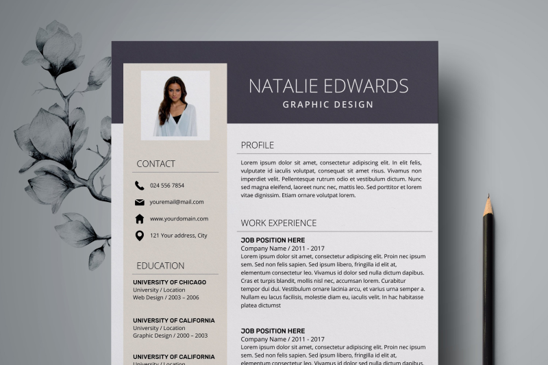 Creative Resume Template / CV Template for Word - Natalie By ...