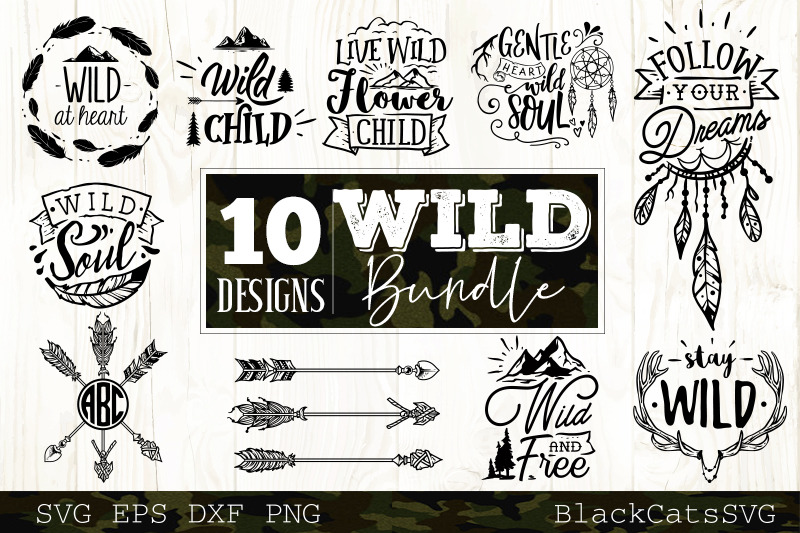 Wild Bundle Svg 10 Designs Vol 1 Wild And Boho Svg Bundle By Blackcatssvg Thehungryjpeg Com