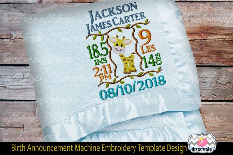 3 Sizes Giraffe Baby Birth Announcement Embroidery Design Template