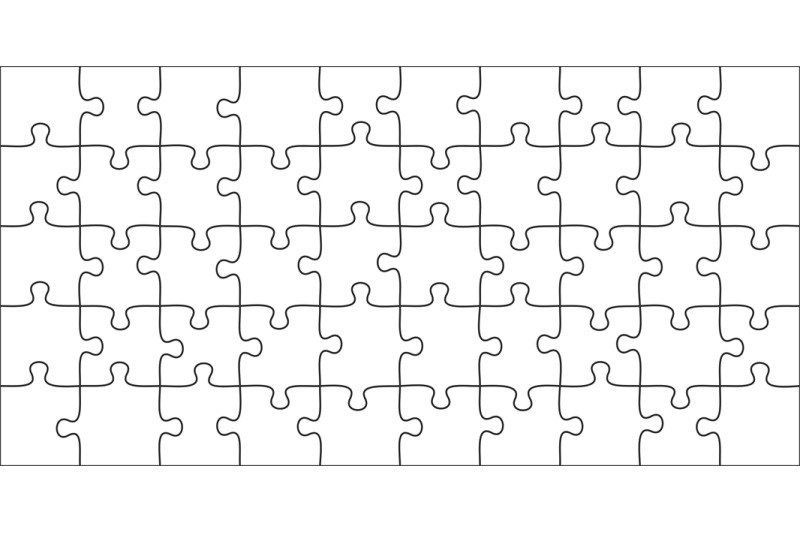 Puzzles Pieces 10x5 Jigsaws Grid Puzzle Shape And Join 50 Piece
