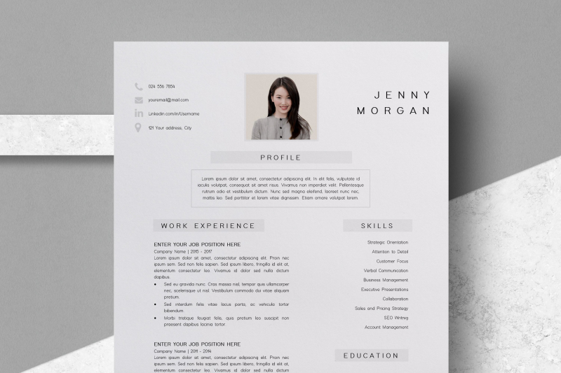 Simple Cv Template Word Resume With Photo Template Jenny