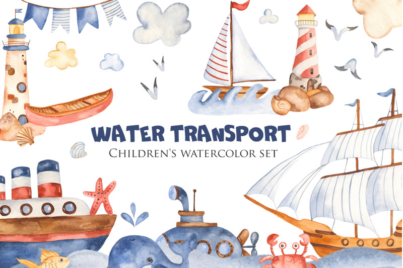 Water Transport. Children's Watercolor Set. By Marina