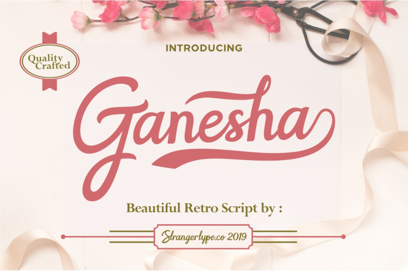 Ganesha - Retro Script Font By strangertype   TheHungryJPEG com