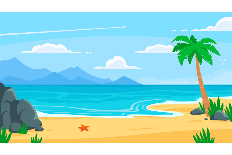Summer Beach Background Sandy Seashore Sea Coast With Palm Tree