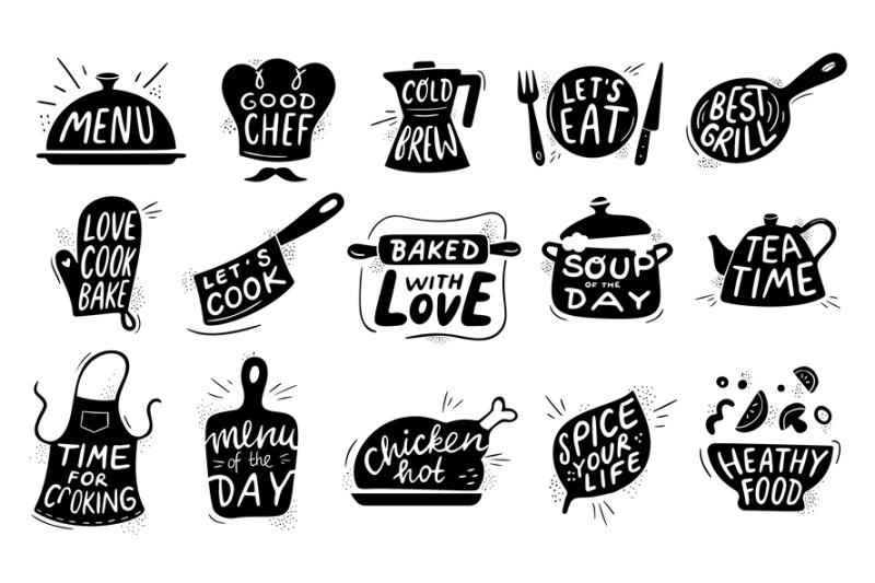 Kitchen food lettering. Gourmet cooking foods badge, chicken