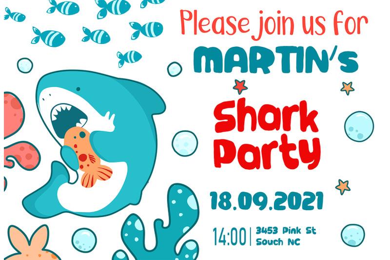 Invitation Template Shark Party By Art LaVika
